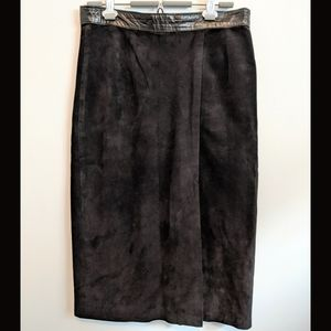 Dresses & Skirts - Vintage black leather waistband  suede skirt
